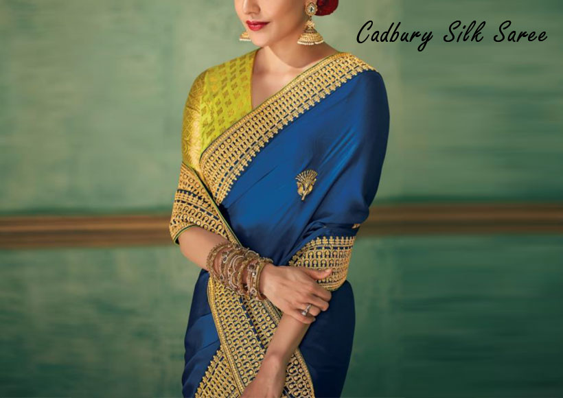 The New Amazing Cadbury Silk Saree You can Buy as a Next Level Party Wear