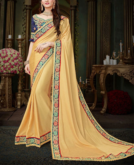 Georgette-Saree-Plain-Border