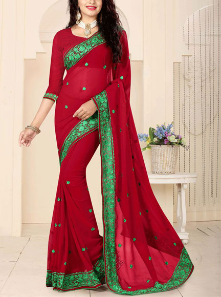 Georgette-Saree-Resham-Work
