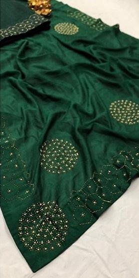 Vichitra-Silk-Saree-Butta-Diamond-Stone-Work