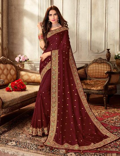 Vichitra-Silk-Saree-Butti-Jari-Work