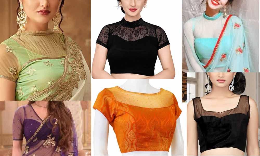 Front-Neck-Net-Blouse-Designs